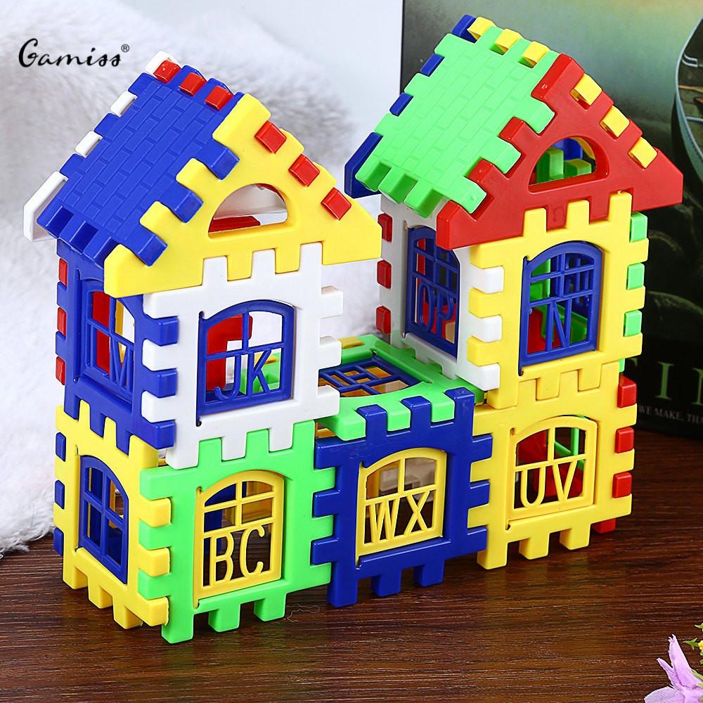 Children Creative House Building Blocks Toy 24PCS DIY Assemblage Craft Gift Construction Brain Development Kids Toys