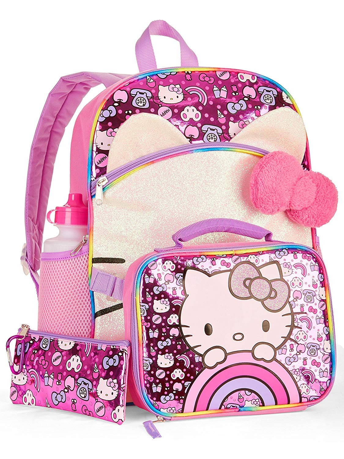 ea8279cb7619 Get Quotations · Hello Kitty 5-Piece Backpack Set With Lunch Bag