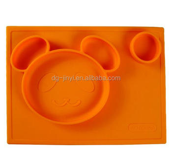 Bear shaped heat resistant silicone placemats silicone rubber placemats for kids