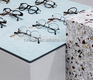 Painted MDF table display and glass show counters for sunglasses retail store design