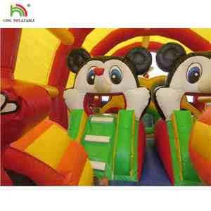 Cartoon Mouse Inflatable Castle Extended Long Dome Fun House