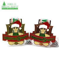 Wholesale Cheap Custom Christmas Party Sports Santa Claus Medal Medallas Personalizadas with Ribbon for Kids