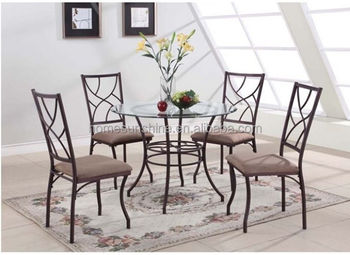 Modern Dining Set 5 Piece Glass Top Table Upholstered Chair Stylish