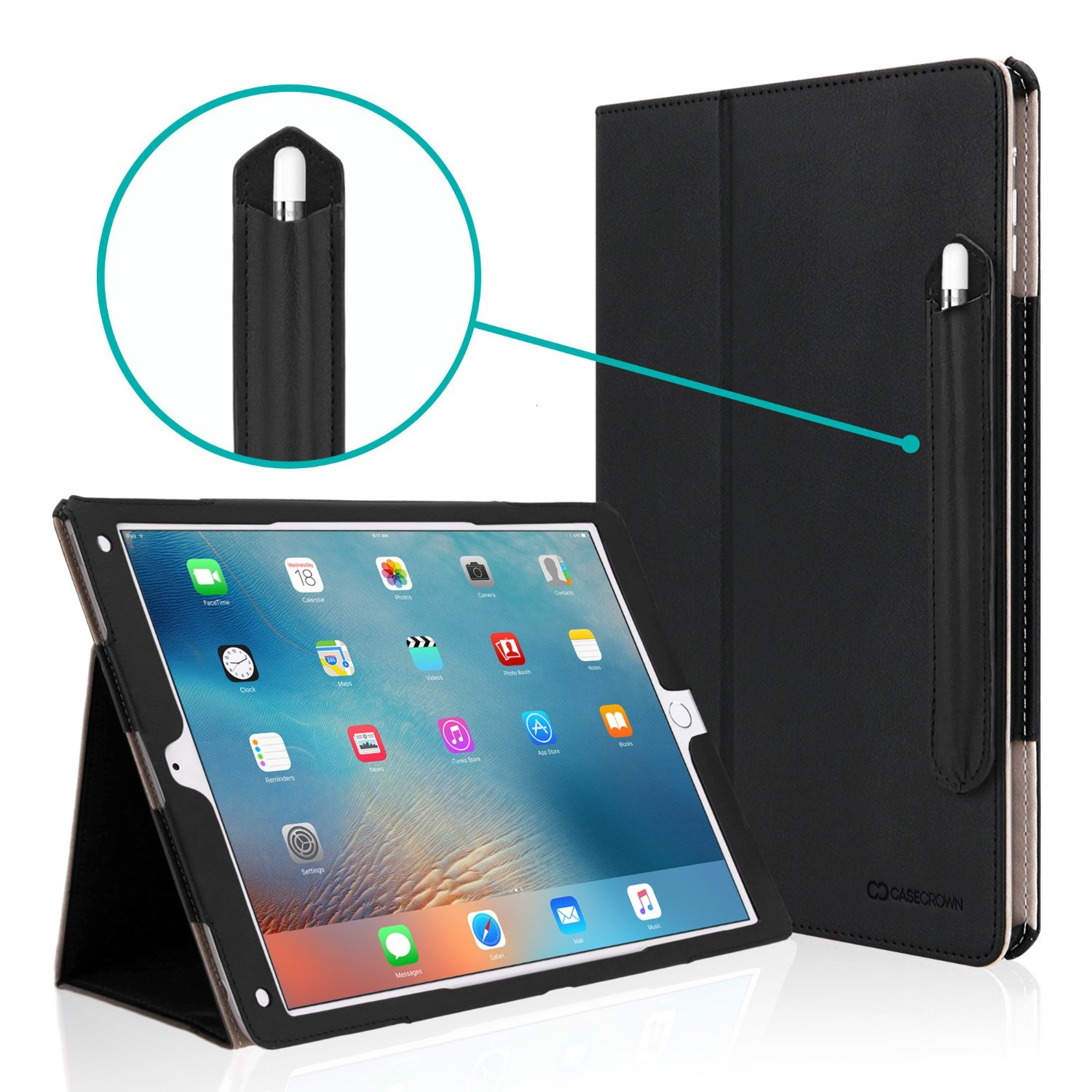 iPad Pro 12.9 Case, [Corner Protection] CaseCrown Bold Standby Pro (Black) w/ Apple Pencil Holder, Sleep / Wake, Hand Grip, & Multi-Angle Viewing Stand