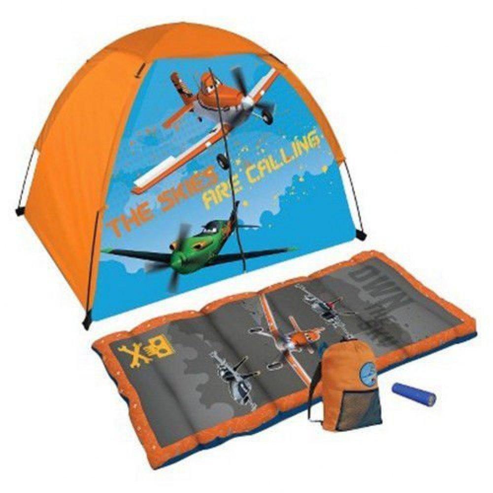 3459b7b8d7f Get Quotations · Disney Planes 4 Piece Set Tent Sleeping Bag w  Flashlight  Indoor Outdoor Camping
