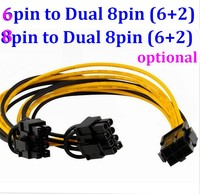 GPU Molex 6 8 pin Male PCI Express to 2 x PCIe 8 (6+2) pin Female Graphics Video Card PCI-e VGA Splitter Hub Power Cable