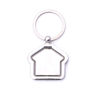 Cheap custom own logo high quality silver house shaped metalrotating spins home keychain