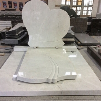 Custom manufacturer price good service high quality Unique White Marble Heart Shaped bench tombstone For U.S.A.