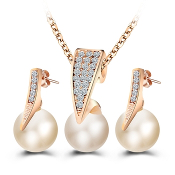 fashion jewelry 14k gold CZ pearl jewelry sets gold earring necklace set G80600