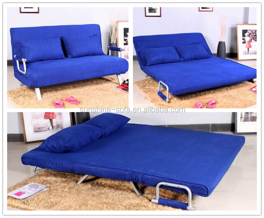 metal flat pack furniture futon sofa bed with removable arm rests blue microfibre