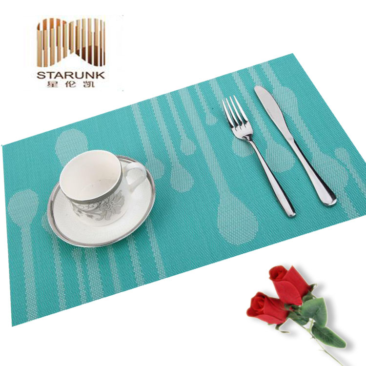 reusable woven plastic coffee pvc woven table mat for sale