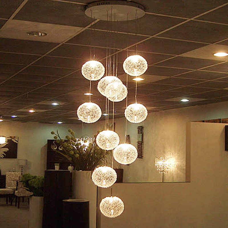 Lighting Basement Washroom Stairs: Modern-Large-Long-Stair-E14-Round-Ball-Chandeliers-10