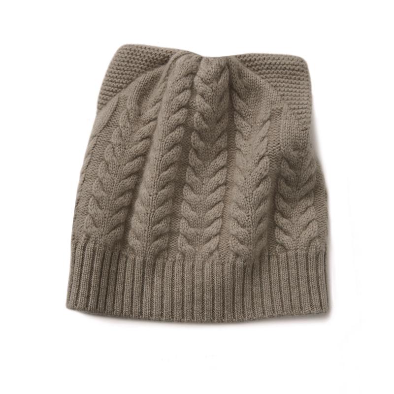 Women Cat Ear Beanie Hat Wool Braided Knit Trendy Winter Warm Cap ... 5812f6dd972