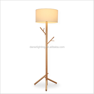 E27 ash natural wooden beige white fabric downlight tripod indoors decorative standing floor lamp