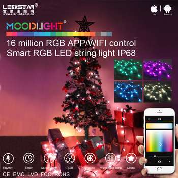 moodlight smart christmas tree led rgb string light kit appwifi control ip68