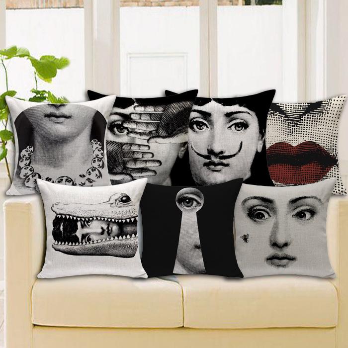 Retro Vintage Fornasetti Decorative Throw Pillow Case Home Decor Cushion Cover Car Cojines Decorativos Almofada Dakimakura Futon
