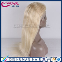human hair full lace wig 18inches length 613 blonde color full lace wig mono wig have baby hair around