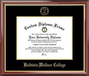 Baldwin Wallace College Yellow Jackets - Embossed Seal - Mahogany Gold Trim - Diploma Frame
