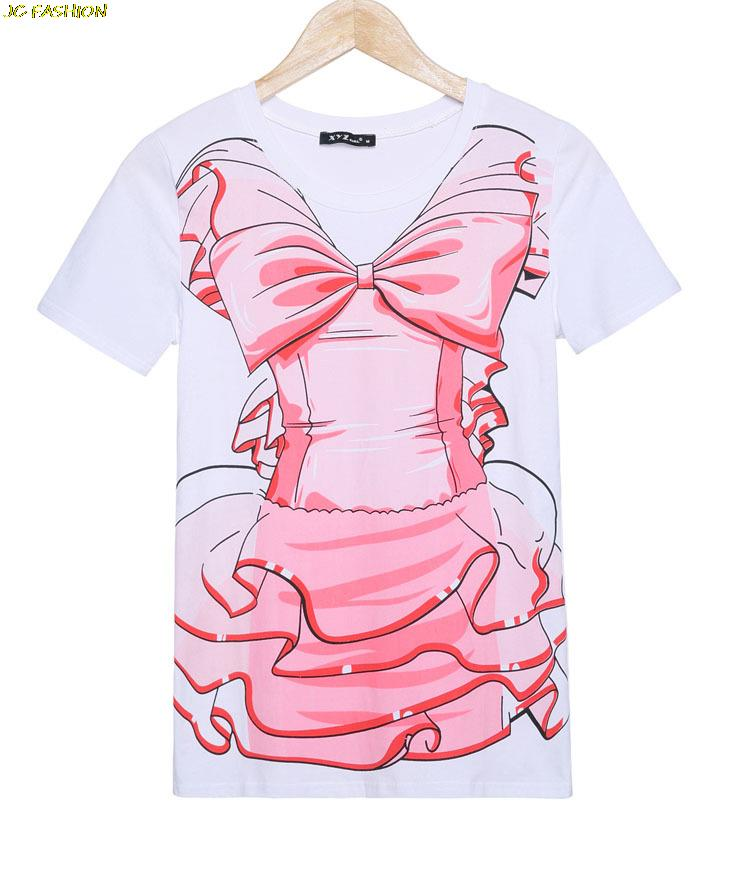 Fashion 2015 New Arrival High Quality Summer T Shirts Short Sleeve O-Neck Bow Printed T-Shirt Casual Cute Women Loose T Shirts
