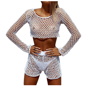 aa59ec2a0 Sexy See Through Net Bikini two Pieces Swimsuit Knitted Hollow Out Long  Sleeve Lace Mesh Bathing