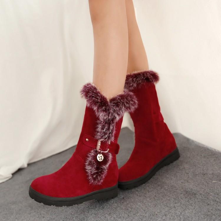 Fashion Women Winter Shoes Medium leg Boots For Women Snow ...