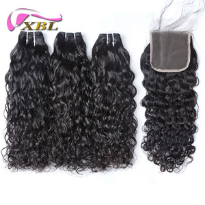xblhair new water wave bundles and top lace closure bohemian curl human hair weave