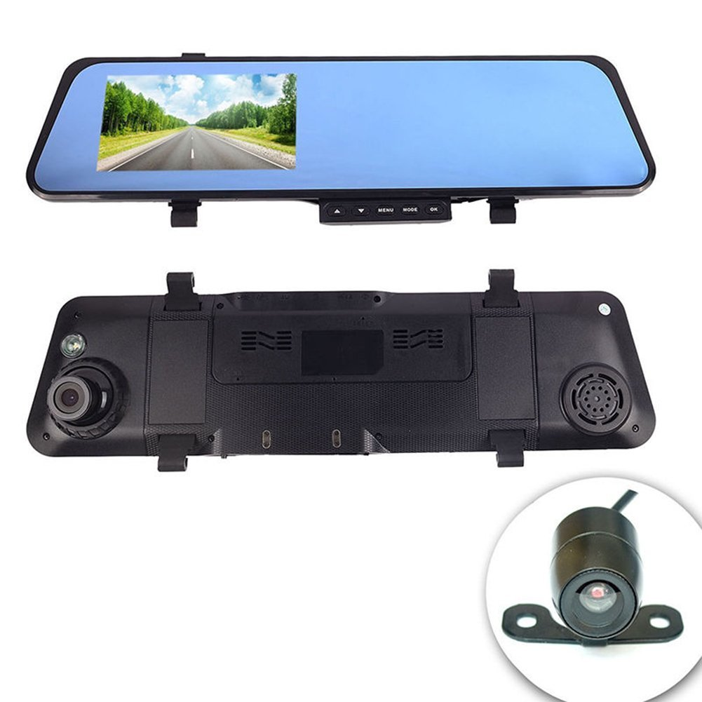 """Dash Cam,4.3"""" HD 1080P Dual Lens Car DVR Camera Video Recorder with Infrared Night Vision Rearview Mirror for Vehicles Front and Rear DVR"""
