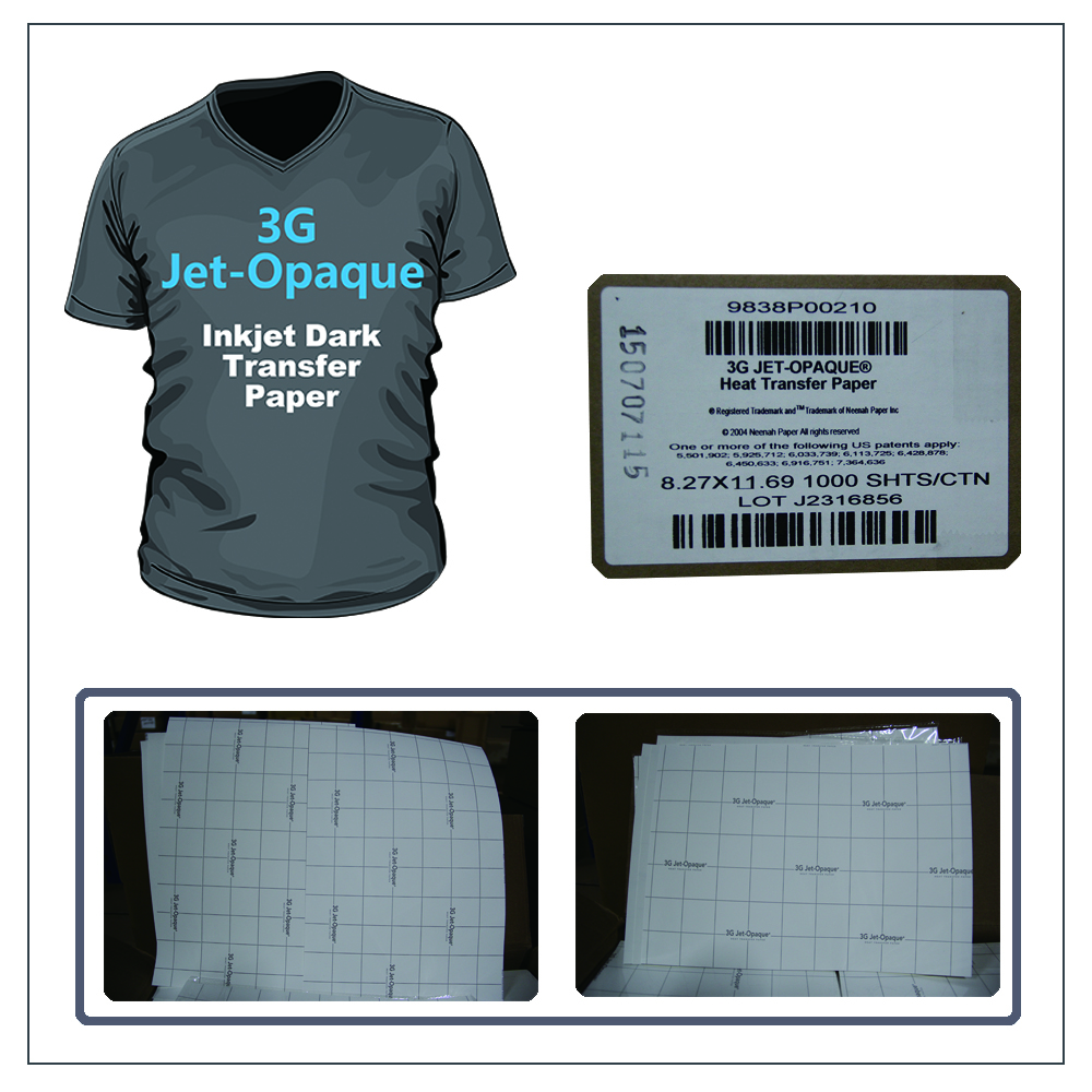 3G JET-OPAQUE Heat Dark Transfer Paper A4 A3 made in USA