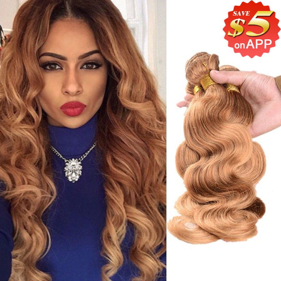Honey Blonde Brazilian Hair Body Wave 3pcs 7a Virgin Weave Bundles Human