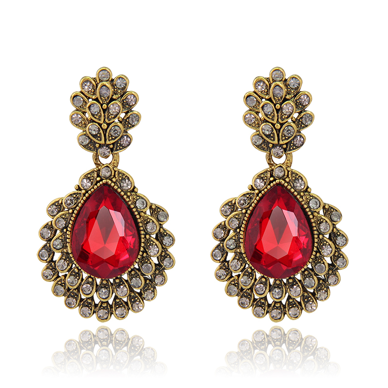 BA071 Aliexpress Hot sales design Vintage Jet Red Earring Ruby Trendy Earrings With Antique Brass Plating Bridesmaids For Women