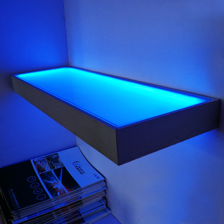 Colorful Led Glass Table Aluminum Shell Frosted Glass