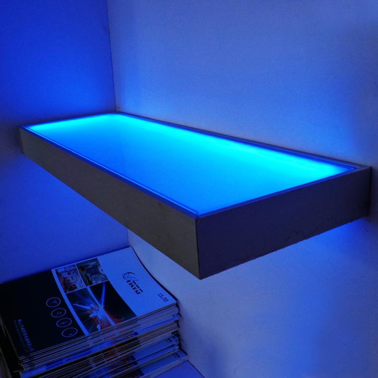 colorful led glass table aluminum shell frosted glass shelf with led lights buy colorful led. Black Bedroom Furniture Sets. Home Design Ideas