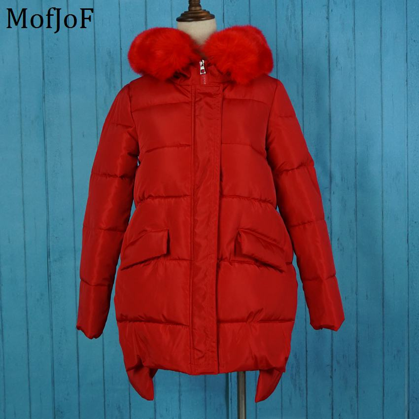 font b Winter b font jacket women warm coat with big fur hoodie coat