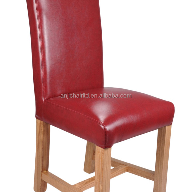 Solid Oak Legs Braced Bonded Leather Wooden Chair For Dining Room