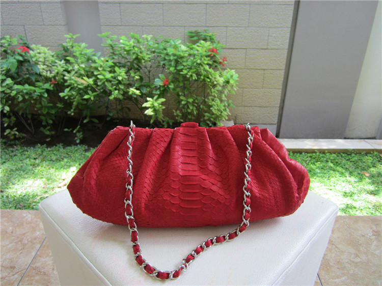 Wholesale Genuine Python Snakeskin Leather Red Handbag Clutch Bag for Women