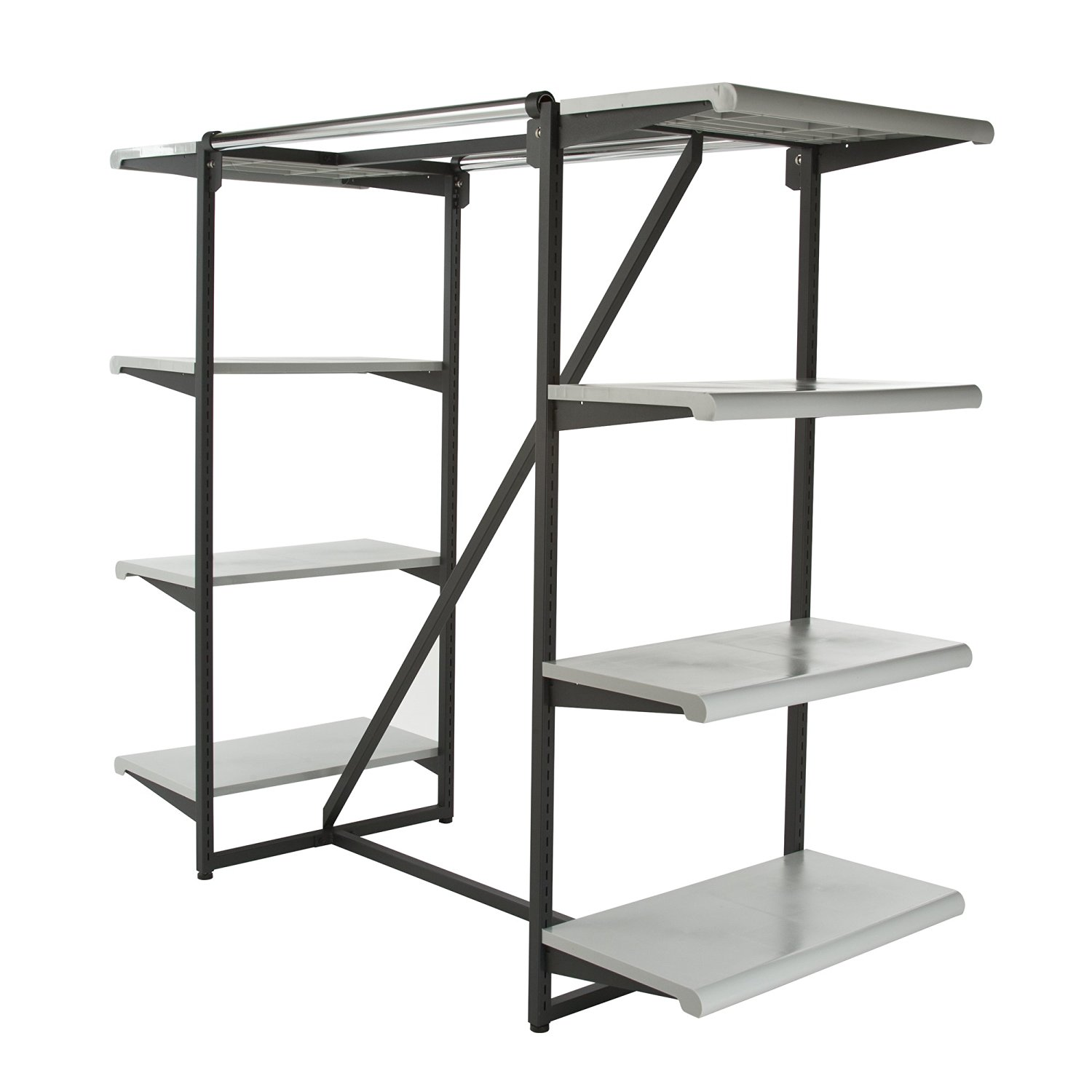 "Econoco K411/GY Double Hangrail Frame with 8-24"" Shelves, 1"" Square Tubing, Matte, Black Frame with Grey Shelves"