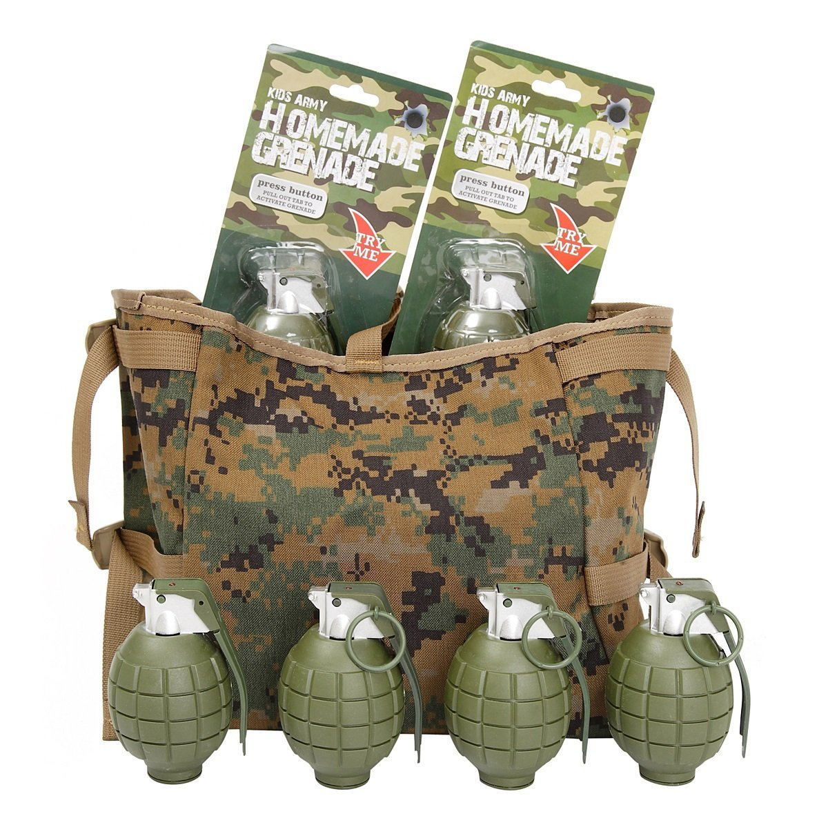 Kids Army Grenade Ammo Bag - Includes 6 Toy Hand Grenades