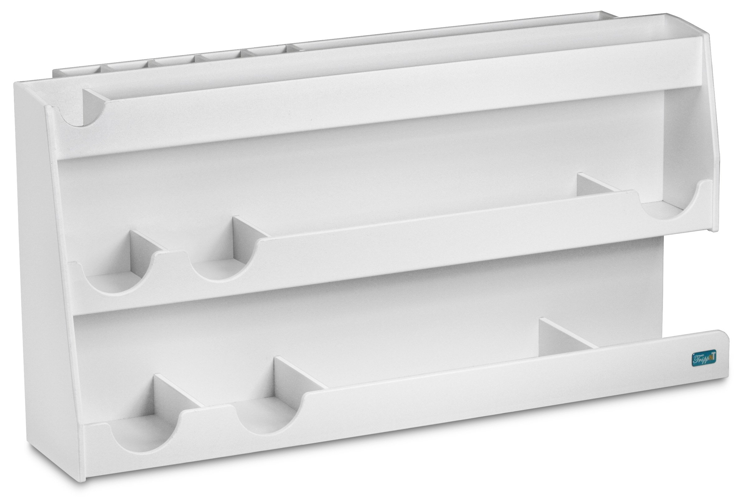 """TrippNT 50124 White PVC Plastic Bench Top Personal Workstation, 17 Compartments, Large, 24"""" Width x 12"""" Height x 7.5"""" Depth"""