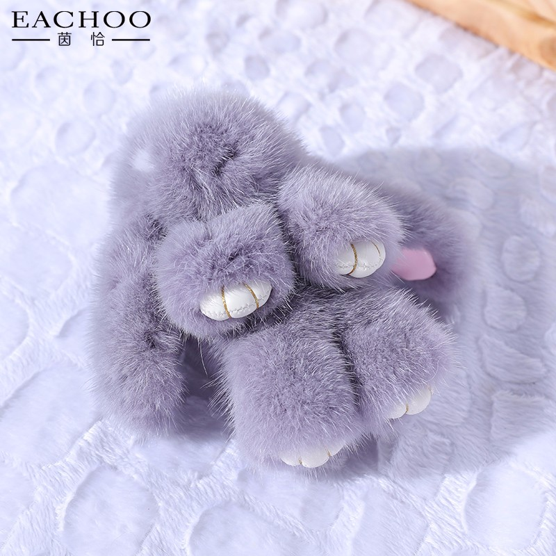 Fur Pom Pom Keychain 100% real Mink fur rabbit doll accessories bag charm cart bag parts pendant monster bag