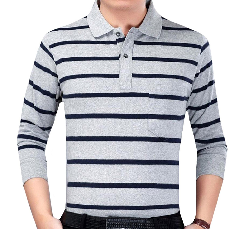 XiaoTianXin-men clothes XTX Men Striped Color Splice Pocket Trim Relaxed-Fit Polo Top