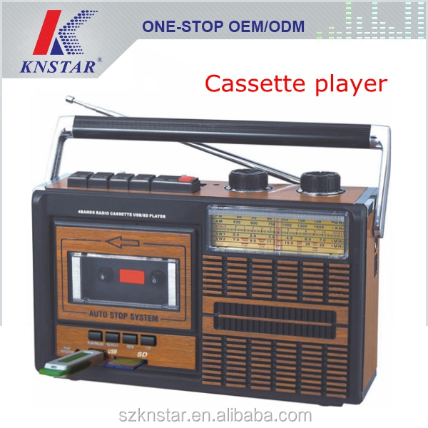 Portable cassette player with AM FM SW1 SW2 radio