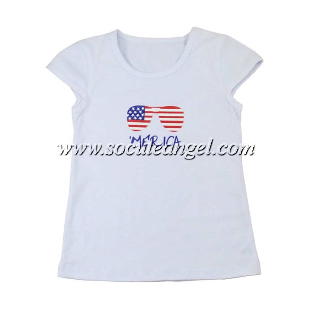 Wholesale kids for 4th of july cap sleeve sunglasses printing patriotic white t shirts
