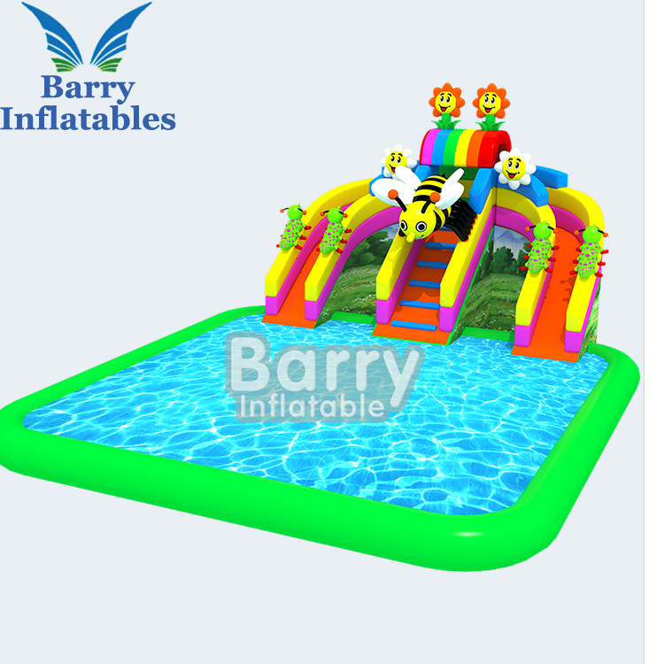 Customize size cheap inflatable water park with inflatable swimming pool and water toys
