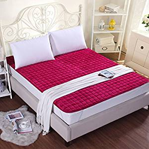 GAO Bed-Blankets Thick Flannel Blankets Anti-Slip Bed Cushion Thin Pads Washable Bedding Solid Color Double Bunk Beds, Blankets and Mattresses Of Anti-Skid ,180200Cm, - Wine Red