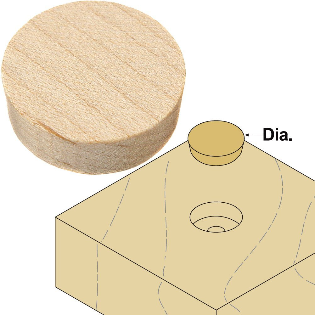 "Platte River 800041, 1000-pack, Wood Specialties, Buttons & Plugs, 3/4"" Maple Side Grain Plugs"