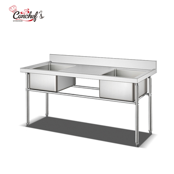 Restaurant Catering Work Bench With Washing Sink Factory/Stainless Steel Sink Work Table With Middle Drainboard, High Quality St