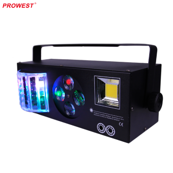 Party Used RGB LED Disco Light for Stage Decoration Effect Boom Box FX 4 in 1 Laser Strobe Derby and Gobo