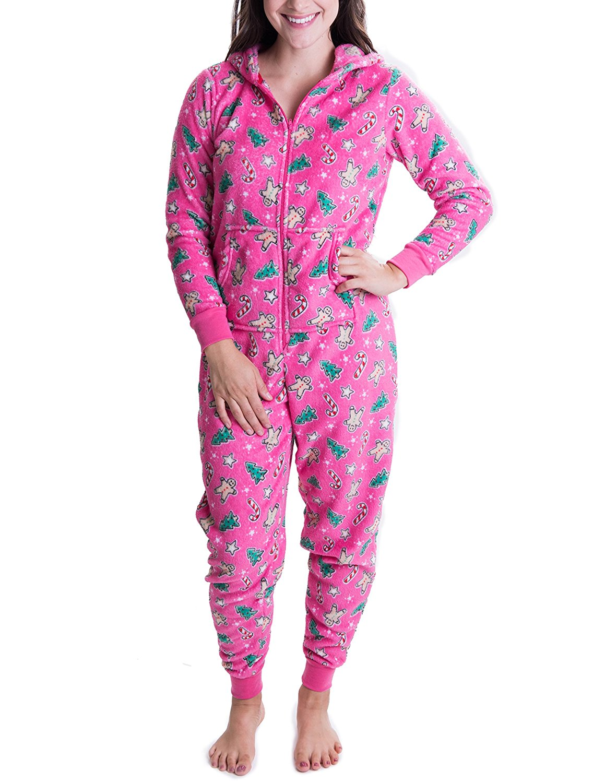 f275d0cc8a Get Quotations · Caramel Cantina Womens One Piece Hooded PJS Fleece Adult  Onesie
