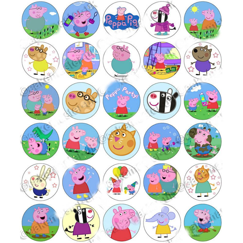 photograph relating to Peppa Pig Character Free Printable Images called Order Peppa Pig Cupcake Toppers Chalkboard Printable Electronic