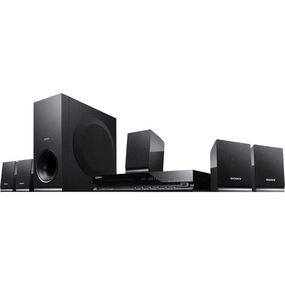 Sony 300 Watts 5.1 Channel DVD Home Theater Surround Sound Entertainment System With DVD Player, USB, HDMI, FM Tuner Plus Sony 6Ft High Speed HDMI Cable